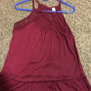Red tank top with keyhole in front and back